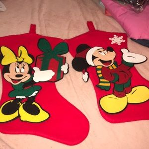 Other - Minnie and Mickey Mouse Christmas Felt Stockings
